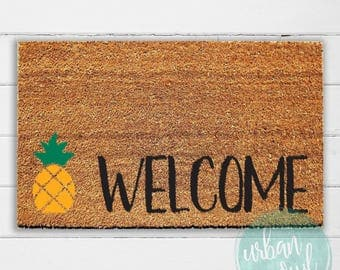 Pineapple Welcome Doormat | Welcome Mat | Door Mat | Outdoor Rug | Coir Mat | Home Decor | Beach House Decor | 18x30"