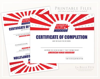 AMERICAN NINJA WARRIOR Certificate of Completion diy printable party favor