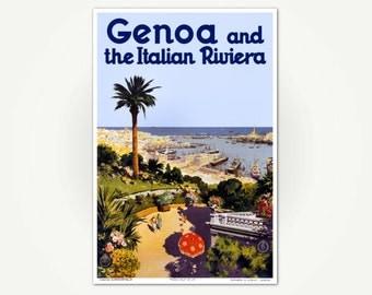 Genoa and the Italian Riviera Poster Print - Vintage Italian Travel Poster Art - Genova Italia Poster