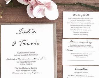 Personalised Wedding Invitation Set With Wishing Well, RSVP, Reception & Envelope