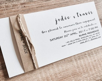Personlised Engagement Invitations with name band & twine