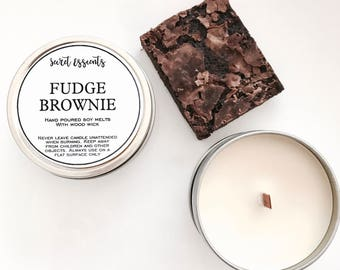 Fudge Brownie Natural Soy Wax Tin Candle with Wooden Wick