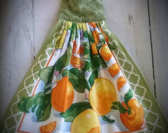 Orange hanging towel Hanging towel with ties Kitchen towels Towels Orange decor Citrus decor Hanging towel
