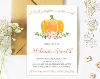 Baby Shower Invitation Girl, Pumpkin Baby Shower Invitation, Baby Shower Invite, Girl, Fall, Gender Neutral, Little Pumpkin, Floral, Waterco
