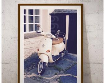 Bike Wall Art, Bike Print, Bike Poster, Bike Art, Bike Decor, Bike Gift, Bike Home Decor, Vespa, Vespa Photography, Vespa Scooter, Moped