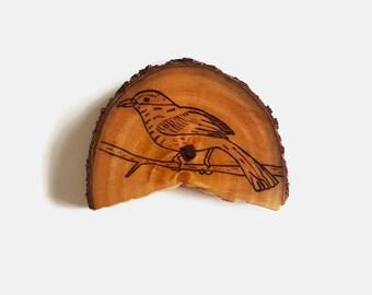 Bird Magnet - Wood Burning, Wood Burned Art, Wood Slices, Australian Wood, Bird, Bird Magnet, Pyrography, Pyrography Art