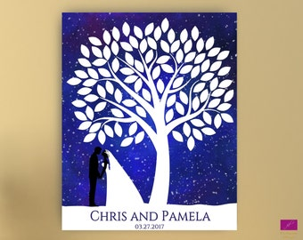 Tree to Sign Wedding Guest book Alternative canvas or poster,Bride and Groom Guest Book,Signature Tree guest book, Silhouette Guest Book