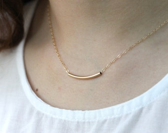 Tube Necklace, Rose Gold Filled Chain, Curved Bar, Minimalist Everyday Jewelry