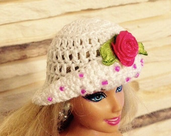 Hat with red rose and little glass beads, Barbie hat, Barbie white hat, Barbie accessory, Barbie clothes, Doll hat, Barbie summer hat