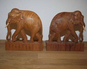 Elephant - Book Ends - Teak - Mid Century - Charming - Wood -
