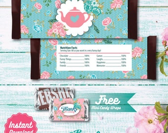 Tea Party Printable Candy Bar Wrapper, Tea Party Labels, Tea Birthday Party decoration, instant download, DIY, Shabby Chic