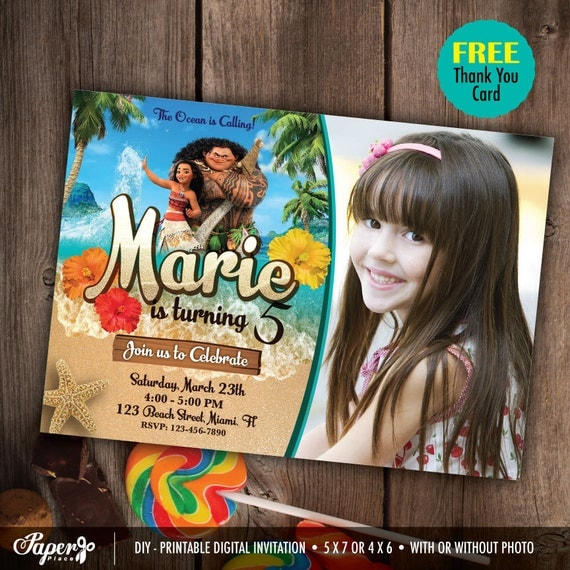 Moana Custom Photo Birthday Invitations