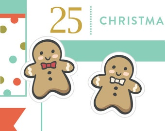 P161-Gingerbread man stickers, christmas planner stickers, baking stickers, cookies, 40 stickers