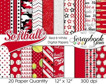"""SOFTBALL Digital Papers Red, White, & Black, 20 Pieces, 12"""" x 12"""", High Quality JPEG files, Instant Download Commercial Sports digiscrap"""