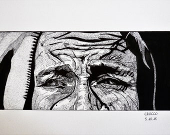 SADNESS, EYES 4 (woman portrait -black ink illustration- reproduction)