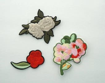 Spring Flowers Embroidered Iron On Applique Patches DIY Beige Rose Red Plum blossom