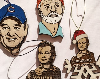 Bill Murray Rear View Ornament Pack, World Series Commemorative Gift, Hand-Painted Wooden Personalized Gifts