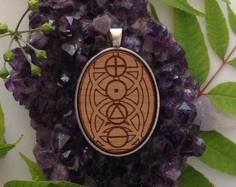 Four Elements Design - Laser Engraved Wood Pendant Necklace- meditation, pagan, wicca, witch.