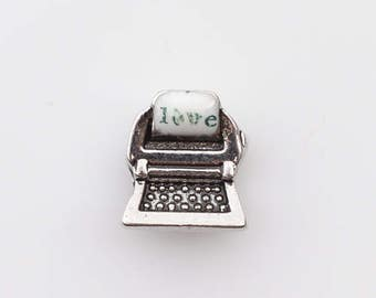 Memory Locket Necklace Type Writer Floating Charm