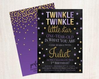 Purple and Gold Twinkle Twinkle Little Star Invite, Twinkle Twinkle Printable Birthday Invitation, Girls First Birthday Invite