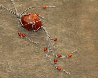 Orange Carnelian stone in Linen net bag