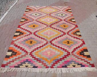 "Vintage turkish kilim rug, handwoven rugs, vintage rug, bohemian rug, kilim rug large, pink rug, floor rug, outdoor rug, 78"" x 116"""