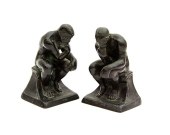 Bronzed Metal Rodin Thinker Bookends