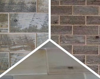 Mixed Sample 6 pack-Barnwood-Distressed barnwood-& wormwood subway tile sample-Try it before you buy itt-