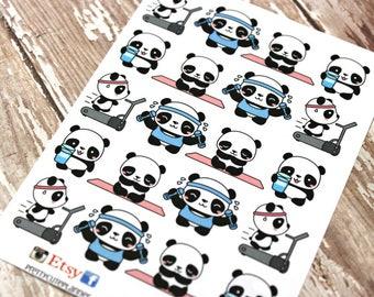 Panda Stickers - Panda Planner Stickers - Character Stickers - Fitness Panda - Yoga Panda - Workout Panda - Treadmill Panda - Water Panda