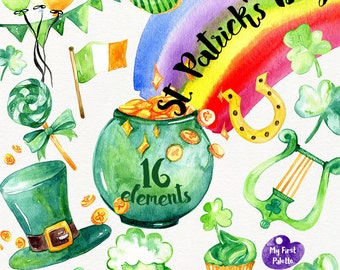 Watercolor St. Patrick's Day clipart 400 dpi PNG, holidays collection clipart, PNG on transparent background for scrapbooking, DIY cards