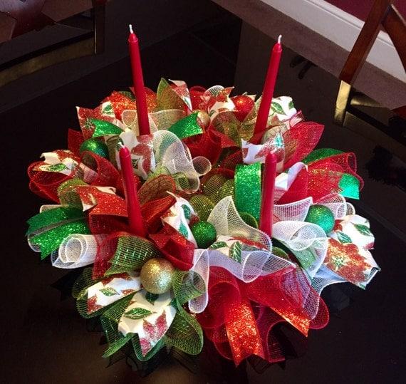 Christmas deco mesh candle stick holder centerpiece