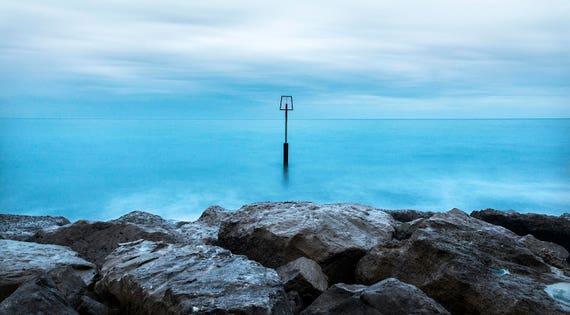 PEACEFUL SEA. Seascape Print, Dorset Coast, Poole Bay, Dorset Coast, Rocks and Sea, Photographic Print