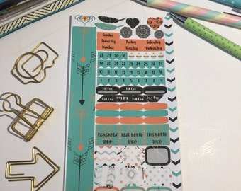 boho personal monthly sticker kit, monthly sticker kit, planner stickers, personal sticker kit PM1