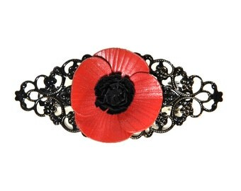 Barrette filigree flower poppy in bloom with cowhide leather