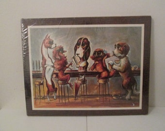 Dogs at the Bar by Miree Big Eyed Art on Cork Sealed Kitsch