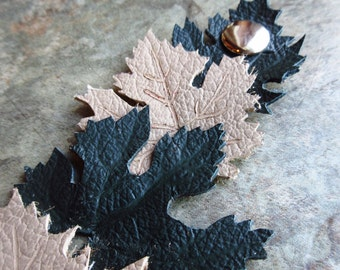 Leather Grape Leaf Cuff Bracelet, Hand Crafted Leather Jewelry