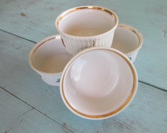 Vintage Louis Lourioux Le Faune VEGETABLES AND FRUITS ramekins small dish gold rim ribbed sides Fireproof Porcelain set of 4