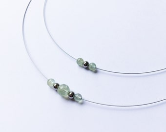Cable necklace, year of birth, in steel and acute marine