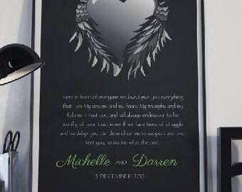 Custom Wedding Vows print, Wedding Vows keepsake, Valentines Day gift, Vows Keepsake print, Anniversary gift, 1st Anniversary gift,