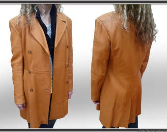 Beautiful vintage coat-trench * high quality leather * leather-orange color