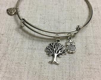 Owl Tree Silver-tone Bangle Charm Bracelet