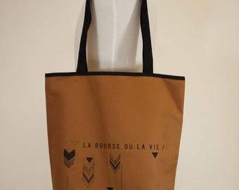 Sac de transport, sac cabas, fourre-tout, sac de courses, sac de commissions, canevas, duck brun