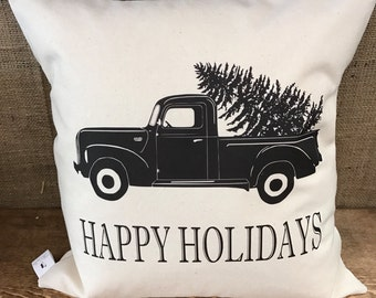 Black Truck Happy Holidays pillow cover
