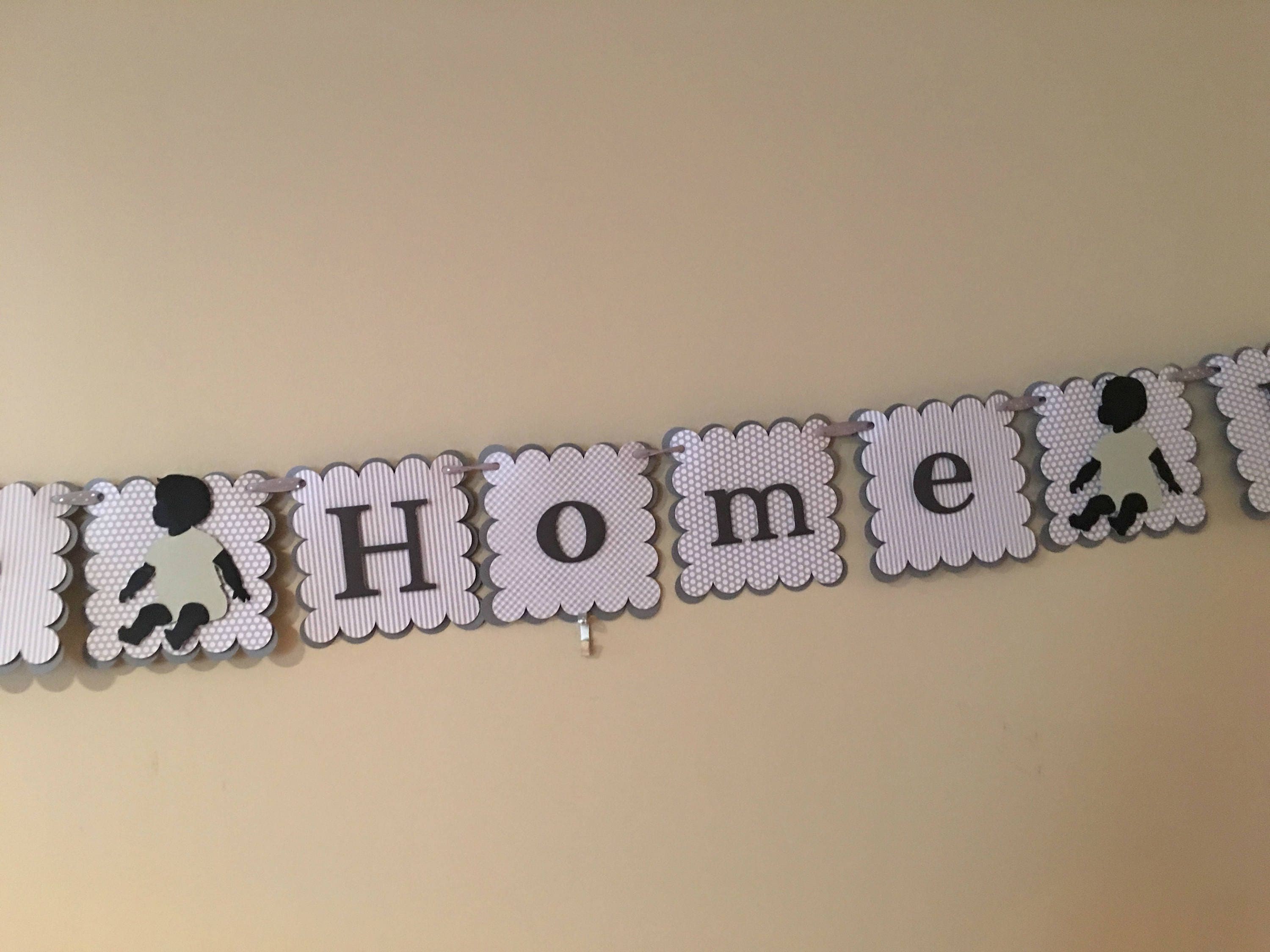 gender neutral welcome home baby banner for the shower or home decor