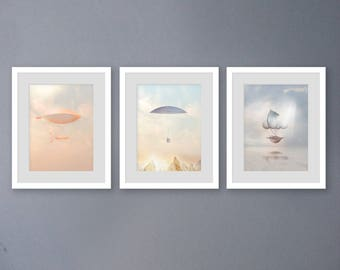 vintage hot air balloon print, nursery print set, SET OF 3 PRINTS, hot air balloon art print, neutral baby art print, vertical print set