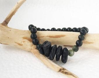 Black Tektite Jewelry, Tektite Meaning is Good Luck, Matte Black Bracelet Meaning for Root Chakra, Meteorite Tektite Stone with green stones