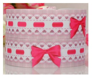 5 meters of liberty Ribbon, bows, pink, fuchsia and white 22 mm,