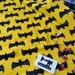 Black Grunge Bats Yellow Cotton Lycra - Stretch Knit Fabric - 4 Way Stretch Fabric - Cotton Spandex - Superhero Fabric - Bat Fabric - Batman
