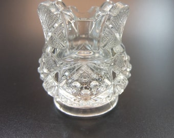 McKee Sunbeam Pattern Toothpick Holder, Clear Glass, Round Base with Square Top, Elaborate Base with Stipples and Scalloped Crown, 1898