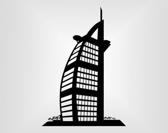 Burj Alarab, Dubai, UAE, Vector art, Cutout, Cricut, Silhouette Cameo, die cut, instant download, Digital Cut, Print Files, Ai, Pdf, Svg